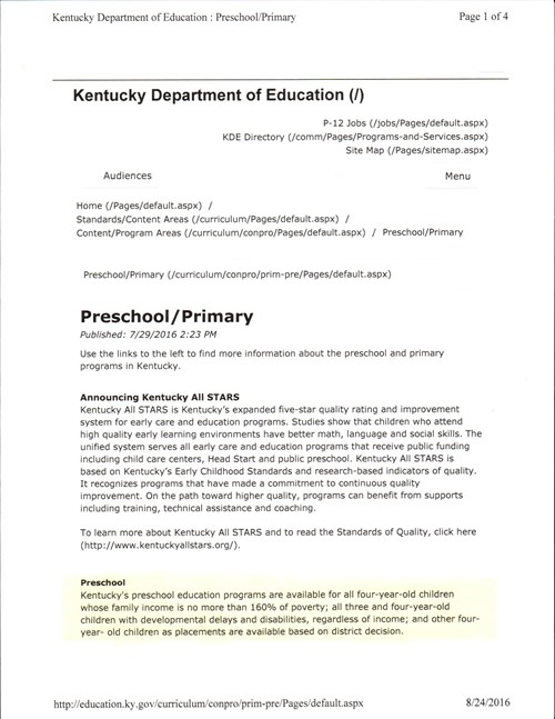 Preschool Guidelines