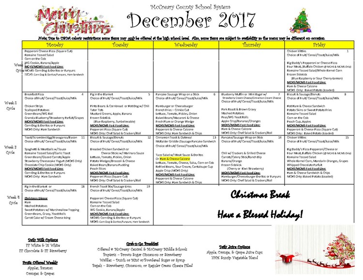 District-wide Breakfast and Lunch Menu for December 2017