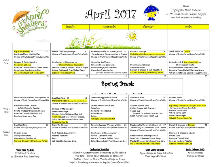 District-wide Breakfast & Lunch Menu for April 2017