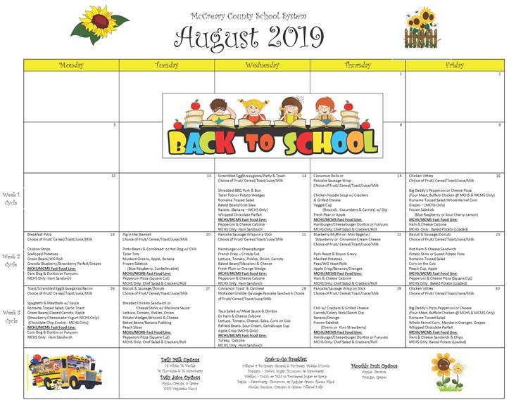 District wide Breakfast and Lunch Menu for August 2019