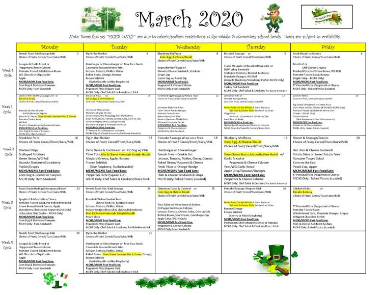 District wide Breakfast and Lunch Menu for March 2020