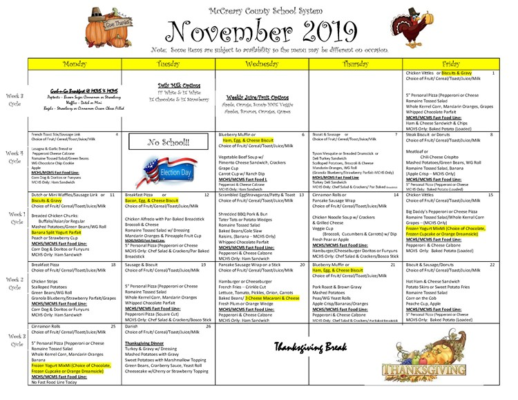 District-wide Breakfast & Lunch Menu For November 2019