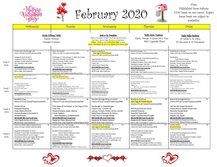 District wide breakfast and lunch menu for February 2020