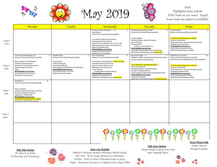 District-wide Breakfast and Lunch Menu For May 2019