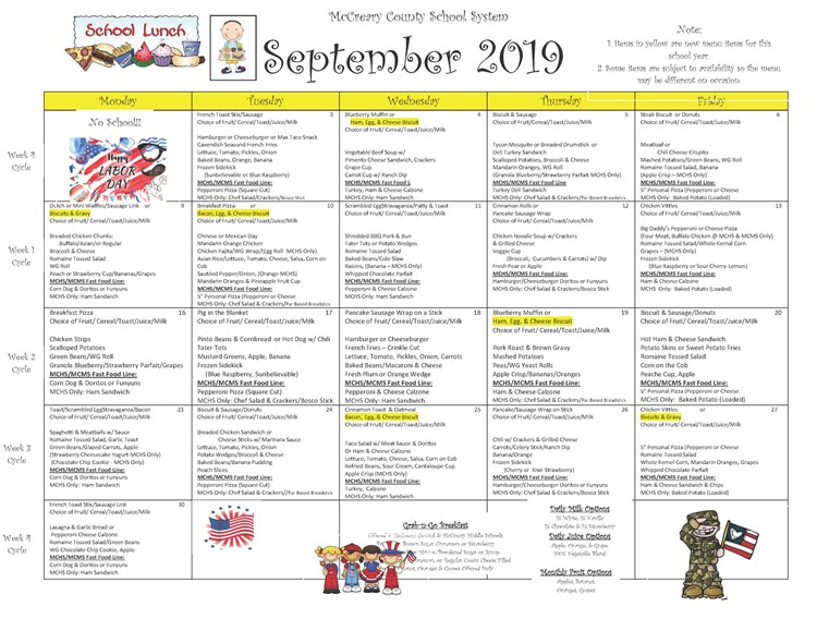 District-wide Breakfast and Lunch Menu For September 2019