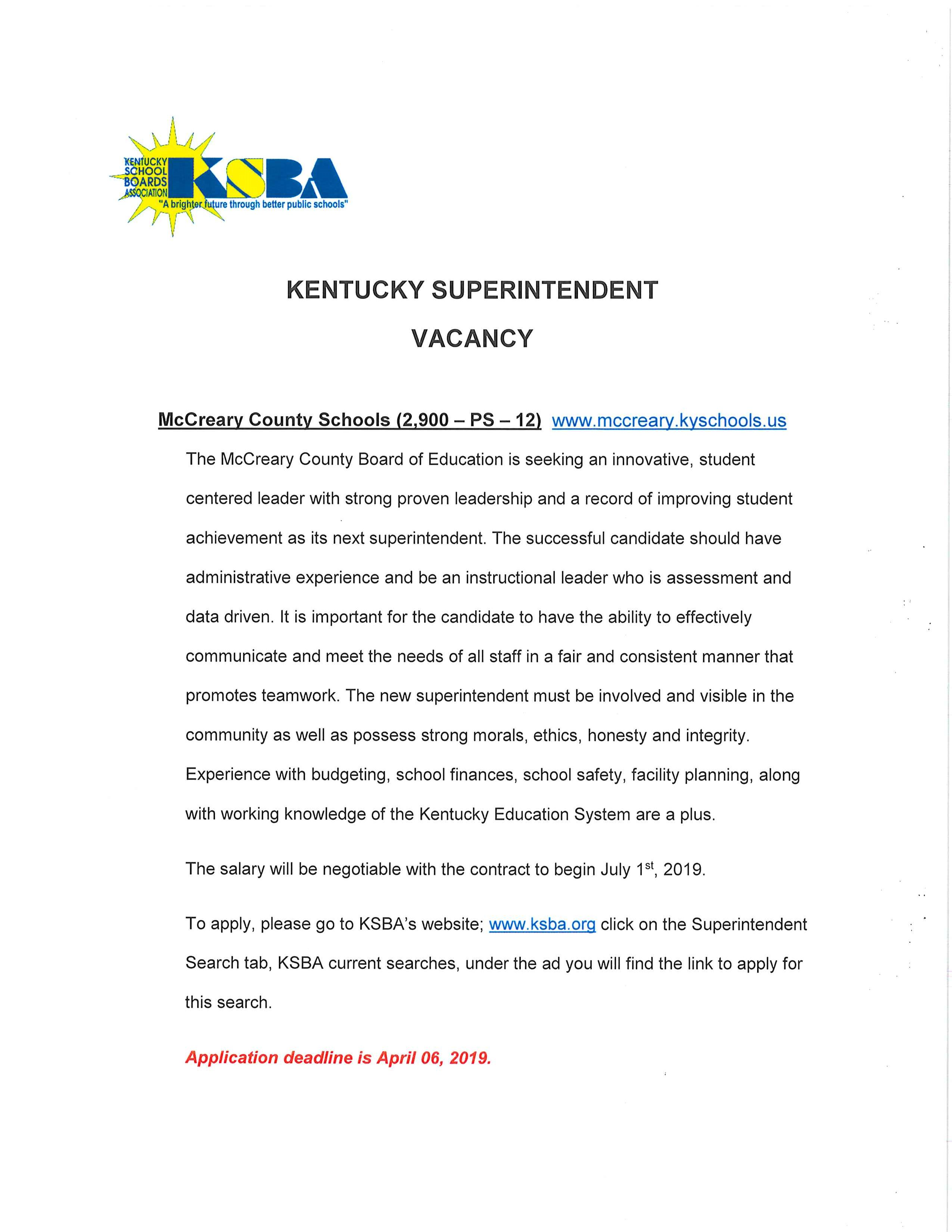Kentucky Superintendent Vacancy