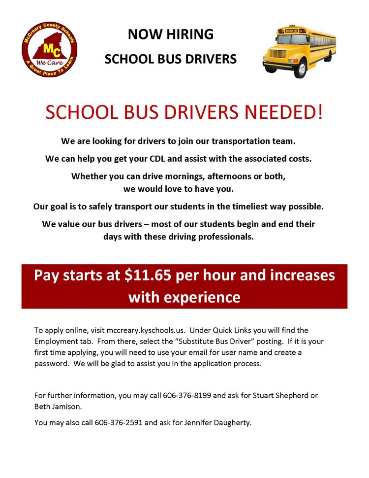 Now Hiring - School Bus Drivers Needed