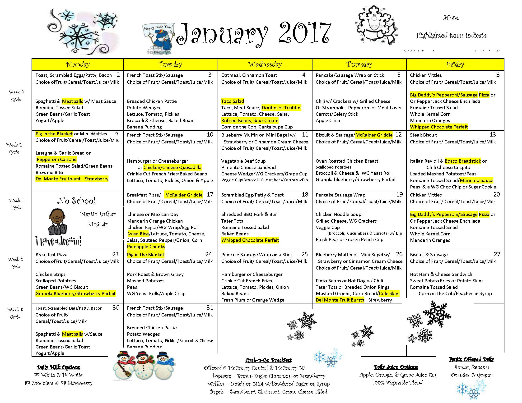 Jan. 2017 Breakfast and Lunch Menu