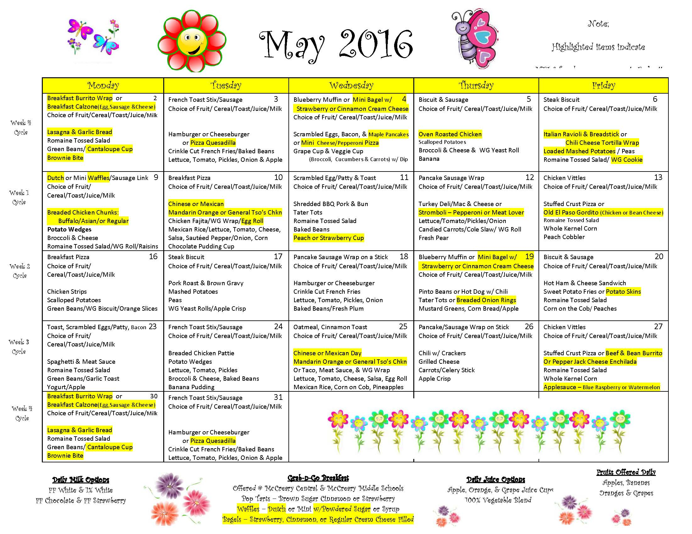 District-wide Breakfast & Lunch Menu for May 2016