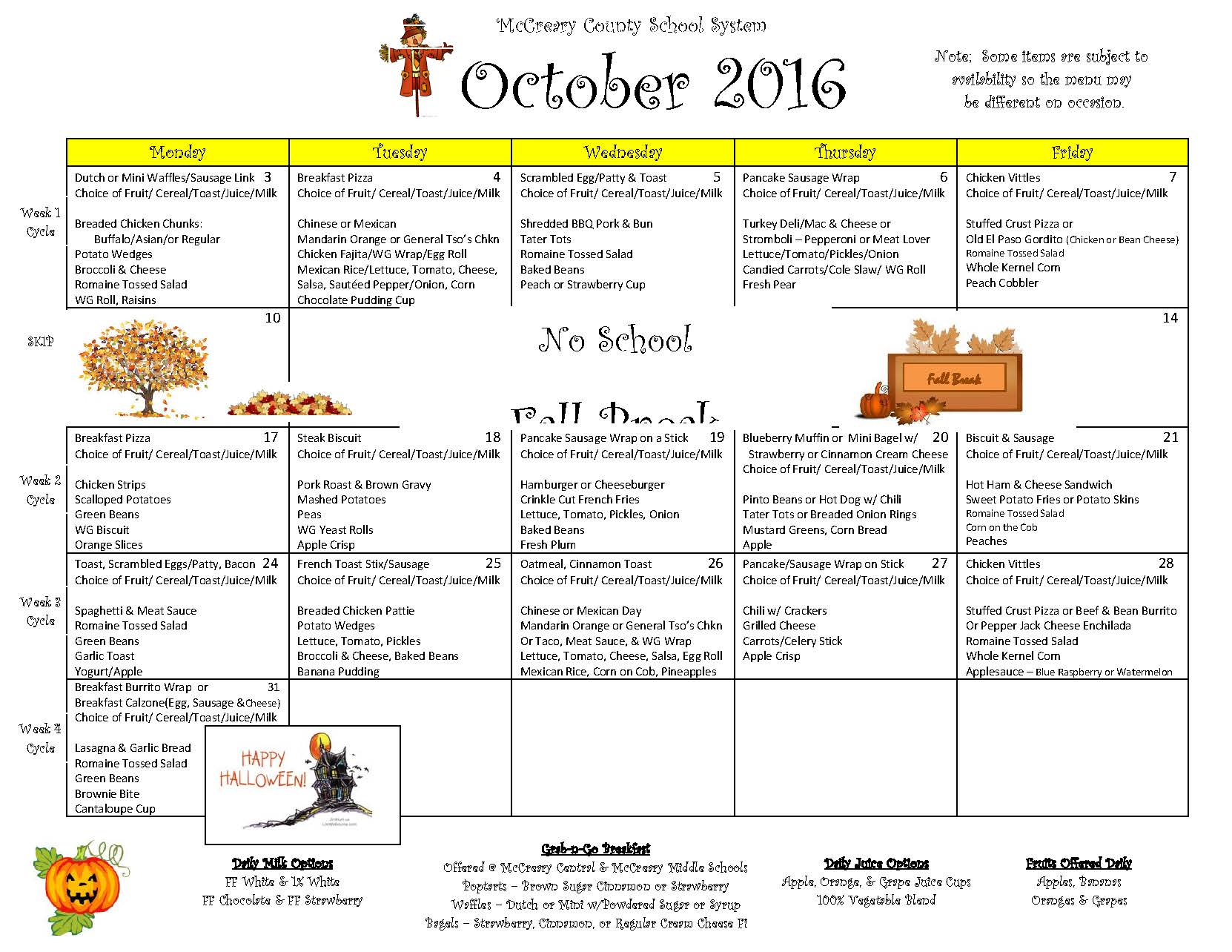 District-wide Breakfast & Lunch Menu For October 2016