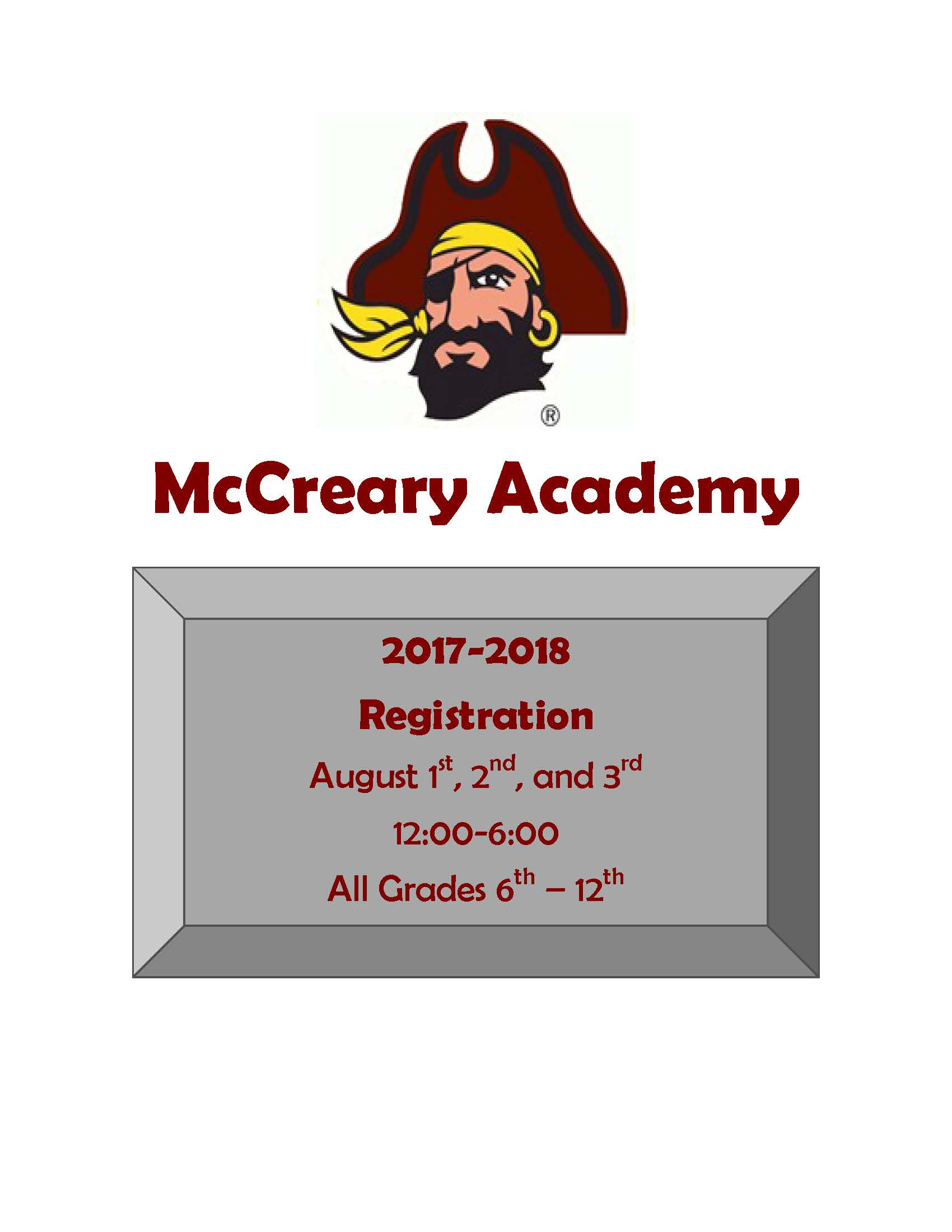 McCreary Academy Registration