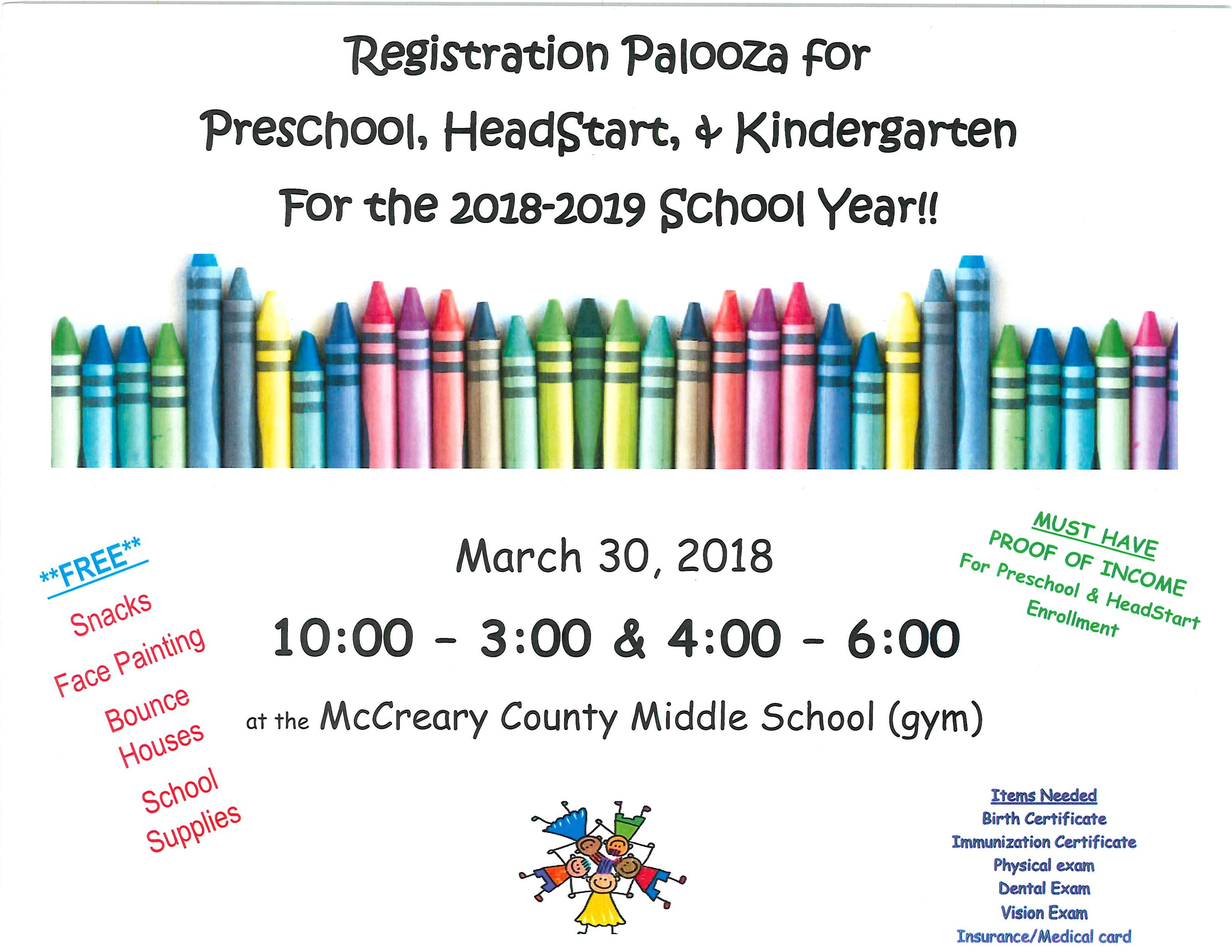 Registration Palooza for Preschool, Headstart, and Kindergarten March 30th, 2018