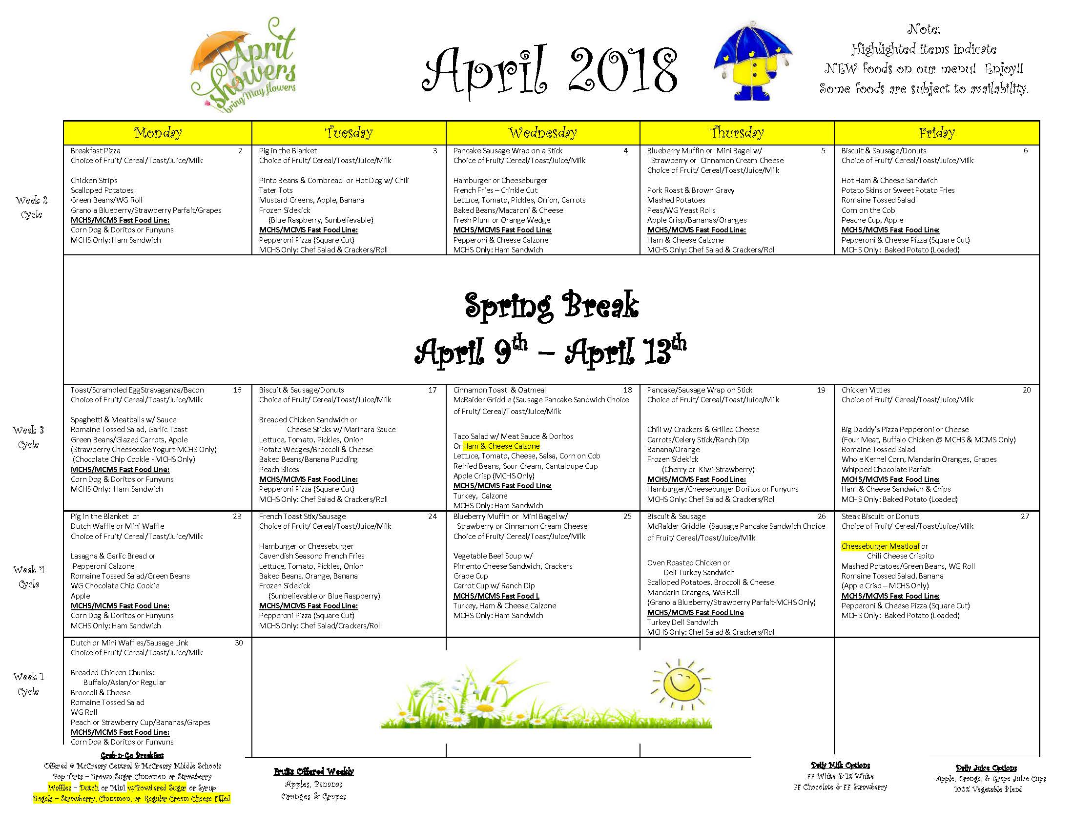 District-wide Breakfast & Lunch Menu For April 2018