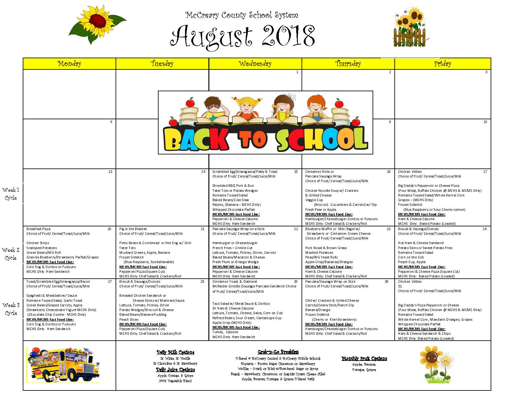 District wide Breakfast and Lunch Menu August 2018