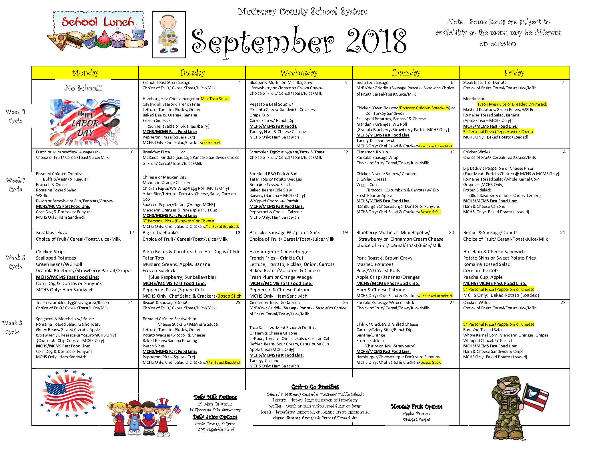 District-wide Breakfast & Lunch Menu For September 2018