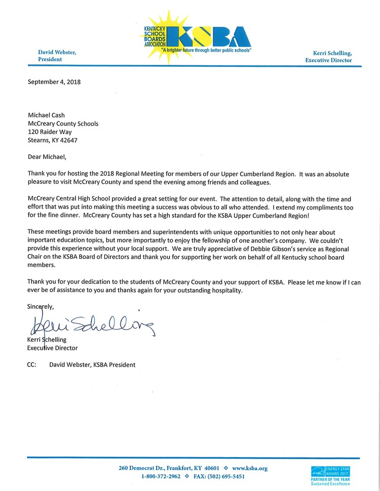 Letter of appreciation from ksba mccreary central high school ksba letter of appreciation spiritdancerdesigns Gallery