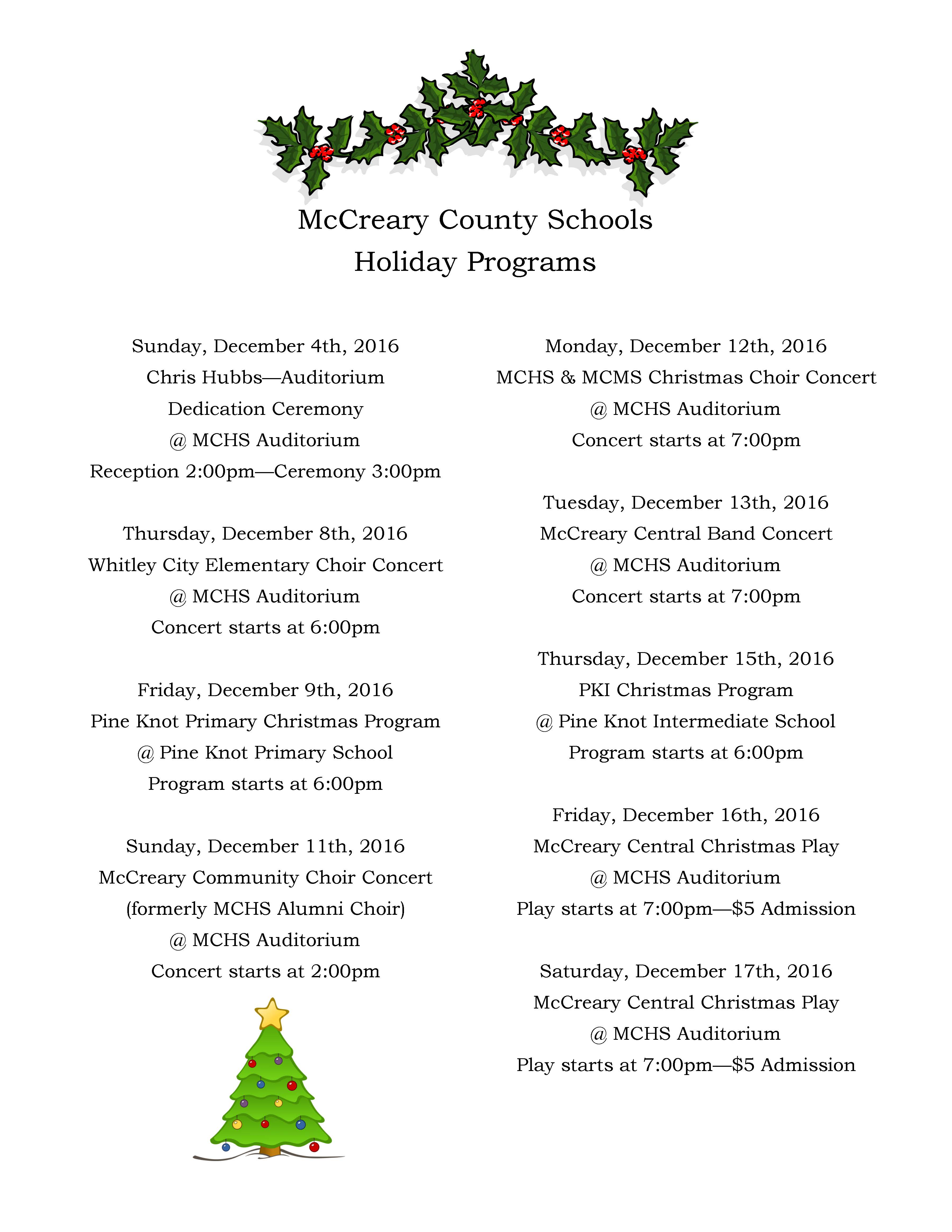 McCreary County School District Holiday Program