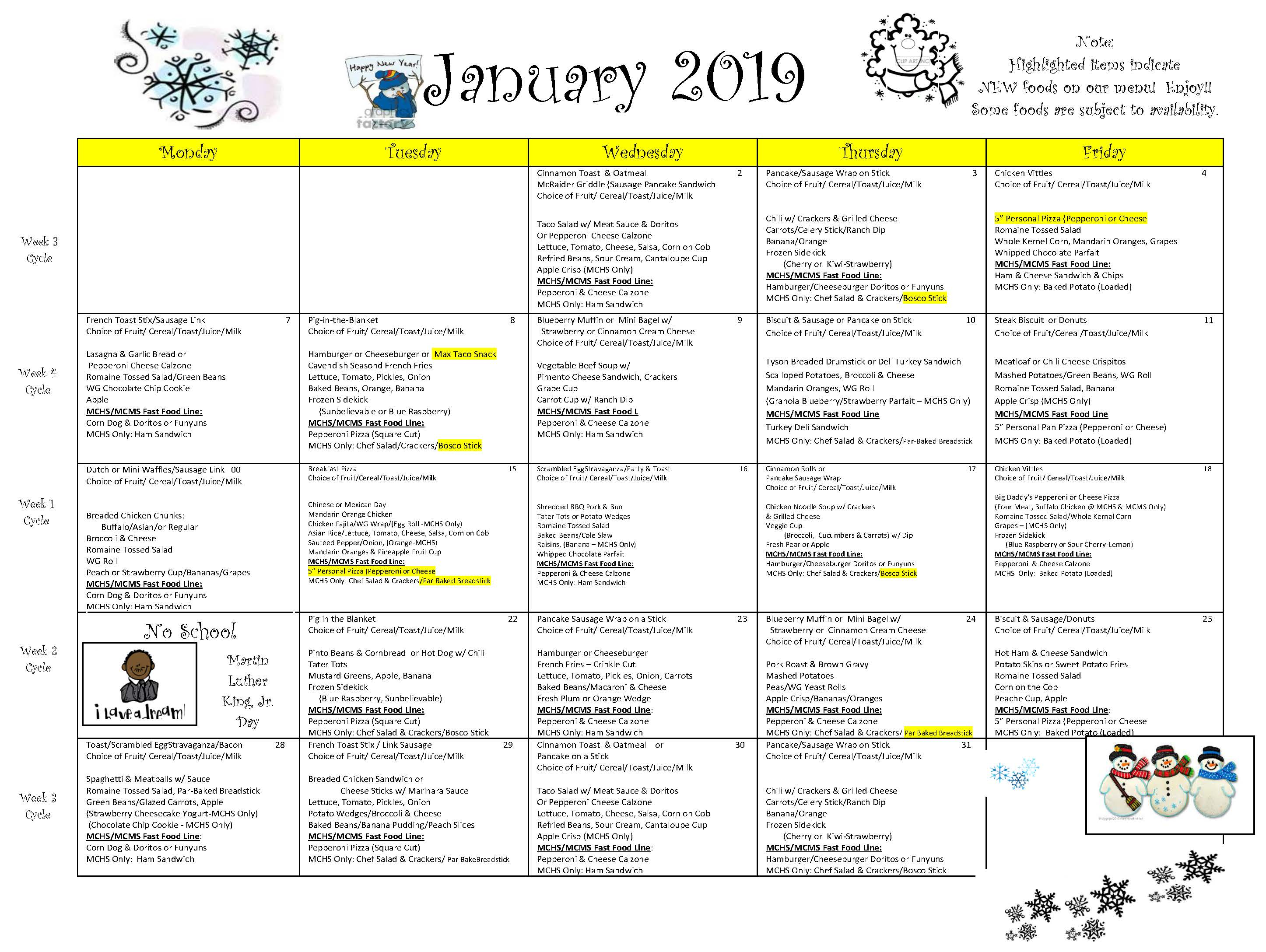 District-Wide Breakfast & Lunch Menu For January 2019