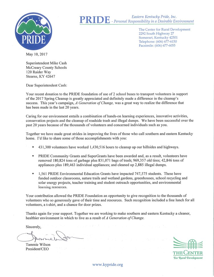 Letter of appreciation from eastern kentucky pride inc to supt letter of appreciate to supt cash spiritdancerdesigns Images