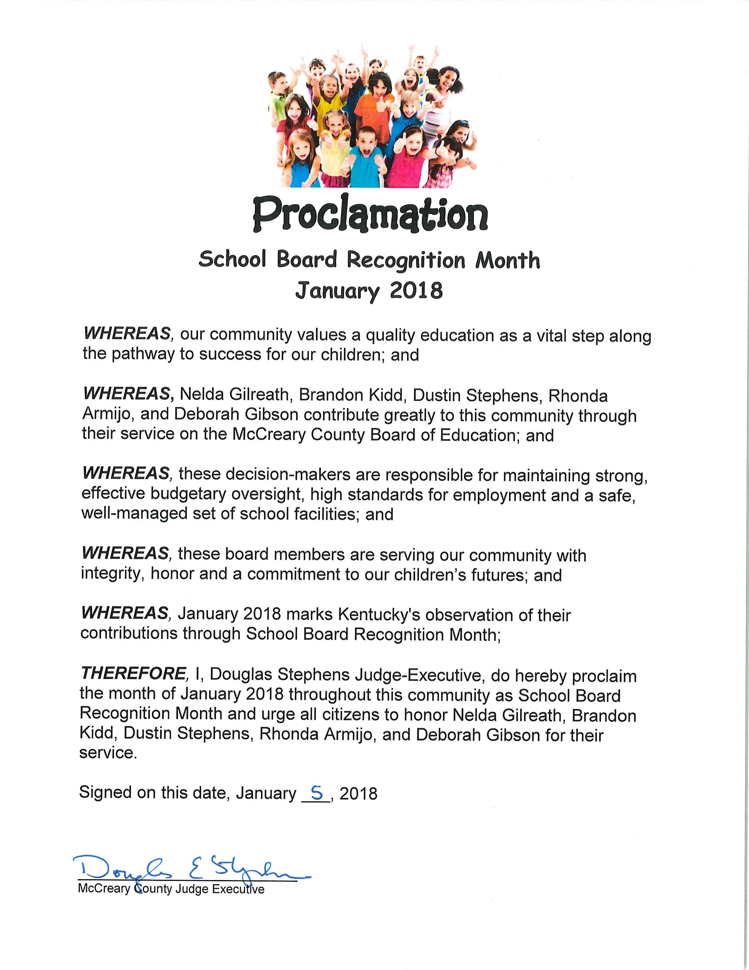 Jan 2018 School Board Recognition Month
